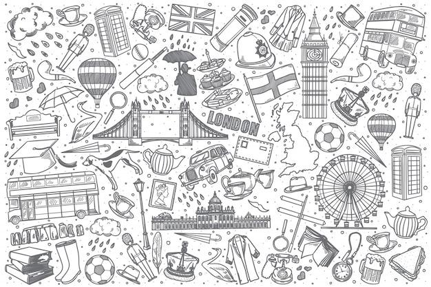 Набор рисованной англии каракули Premium векторы