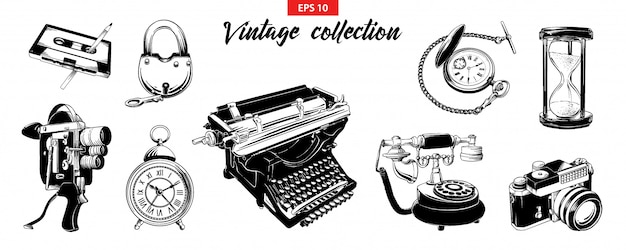 Hand drawn engraved sketch set of vintage odjects Premium Vector