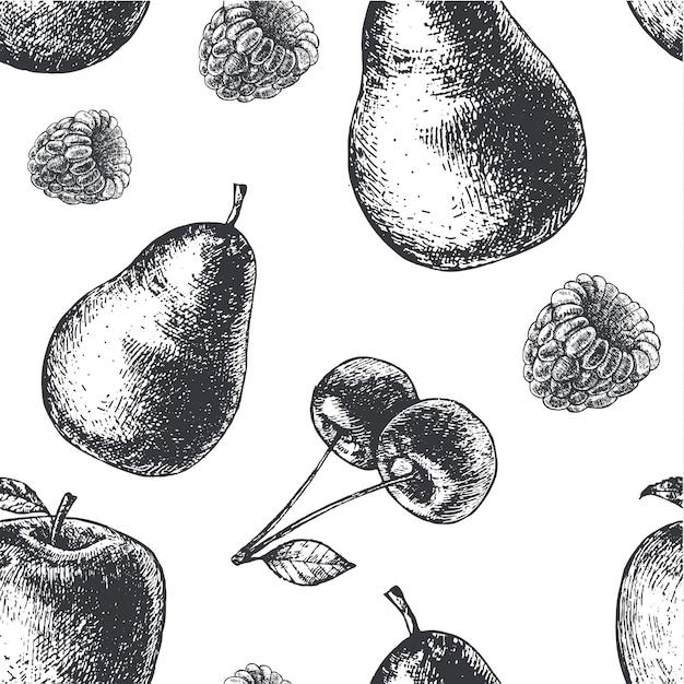 手描きの彫刻スタイルの黒と白のシームレスなフルーツパターン。梨、リンゴ、さくらんぼ、ラズベリー生地、紙、背景。 Premiumベクター