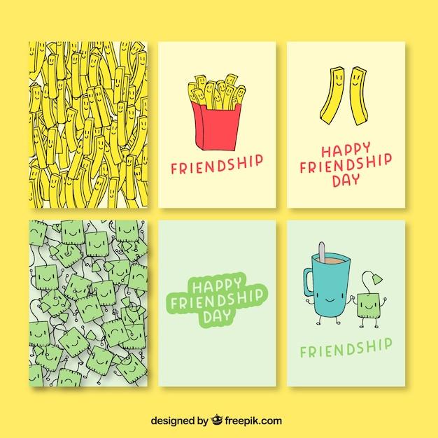 دست کشیده کارت های روز دوستی لذت بخش