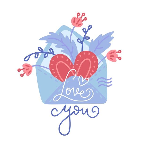 Ручной обращается конверт с сердцем, цветами и надписью love you Premium векторы