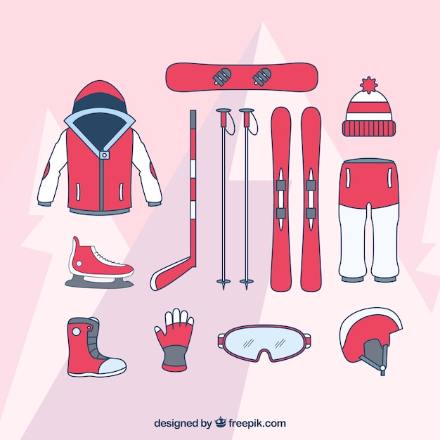 Hand drawn equipment of various winter\ sports