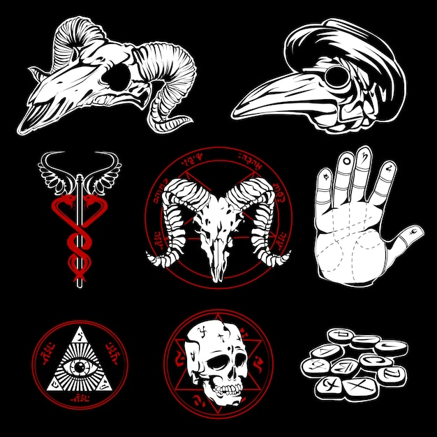 Hand drawn esoteric symbols and occult attributes Free Vector
