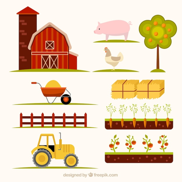 Hand drawn essential farm elements Free Vector