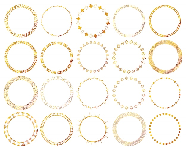 Hand-drawn ethnic brushes set in gold color. Premium Vector
