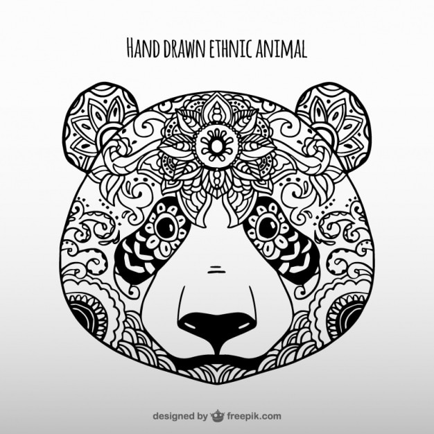 Hand Drawn Ethnic Panda Vector Free Download