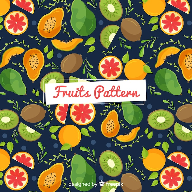 Hand drawn exotic fruits pattern Free Vector