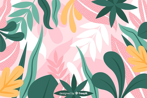 Hand drawn exotic leaves background Free Vector