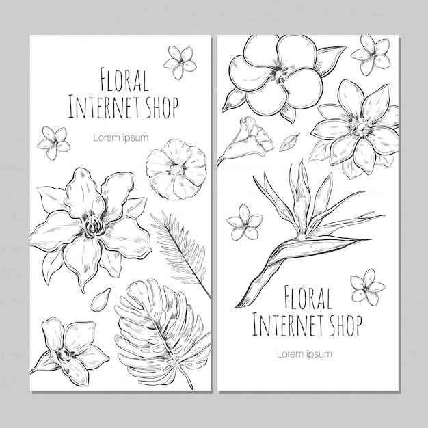 Bandiere verticali di piante esotiche disegnate a mano Vettore gratuito