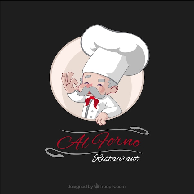 Hand drawn experienced chef restaurant logo Free Vector