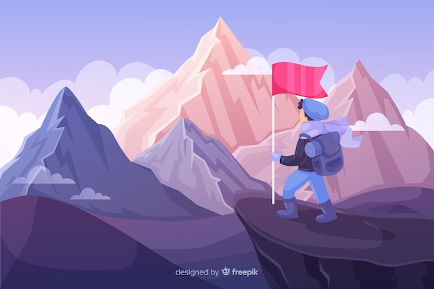 Hand drawn explorer with backpack background Premium Vector