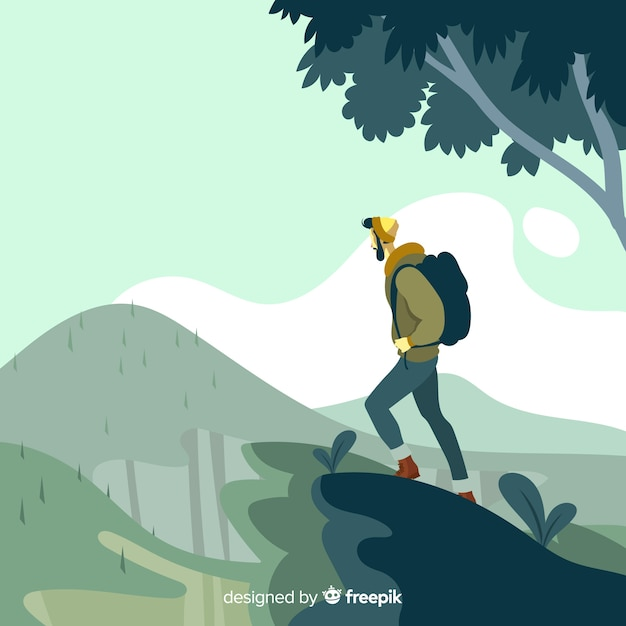 Hand drawn explorer with backpack background Free Vector