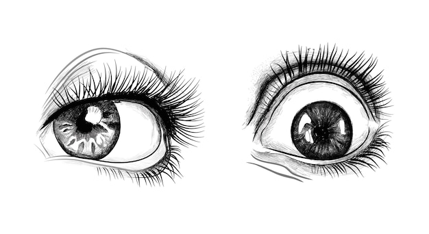 Hand drawn eyes Premium Vector