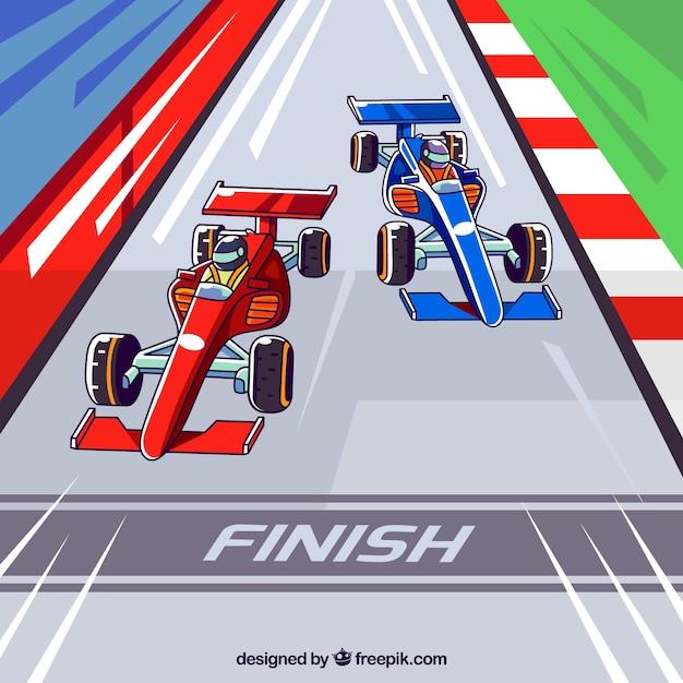 Hand drawn f1 racing carss crossing finish line Free Vector