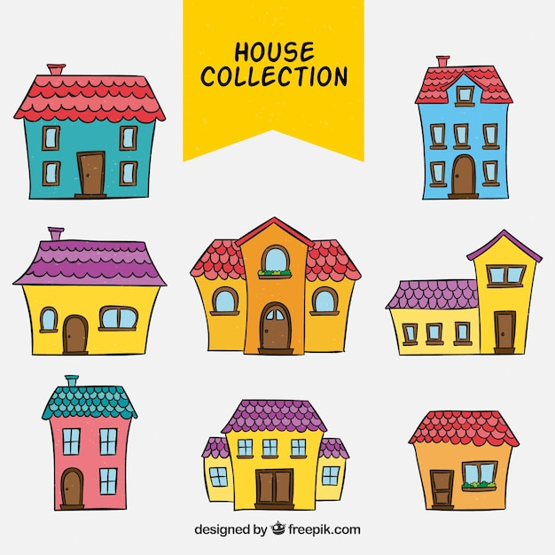 Hand drawn facades of colored houses collection