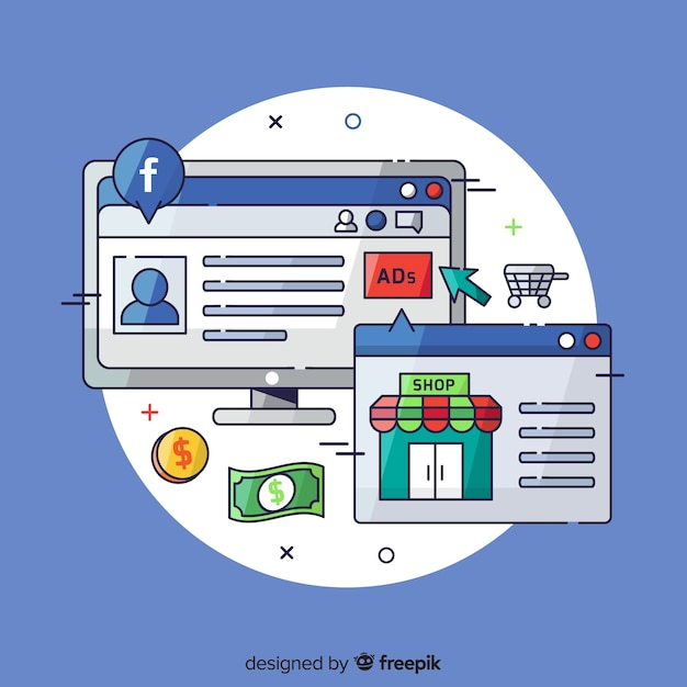 Hand drawn facebook ads background Free Vector