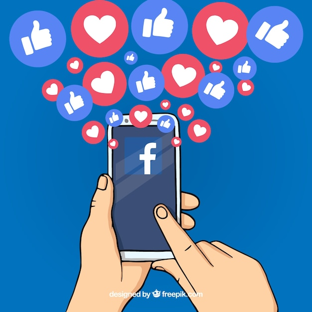 Hand drawn facebook background with mobile phone Free Vector