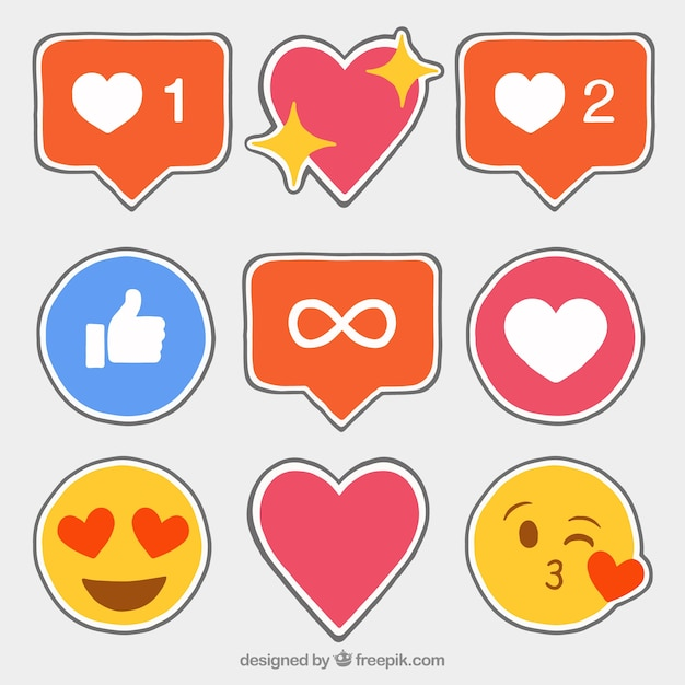 Hand drawn facebook icons stickers Free Vector