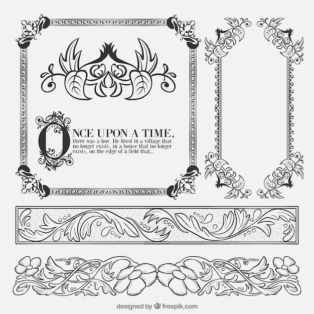 Hand drawn fairy tale floral ornaments Free Vector
