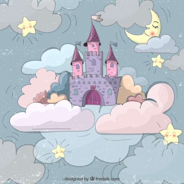 Hand drawn fairytale castle Free Vector