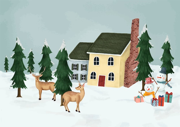 Hand-drawn fallow deer walking into a village Free Vector