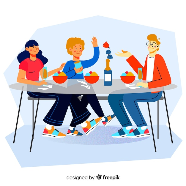 Hand drawn family around the table Free Vector