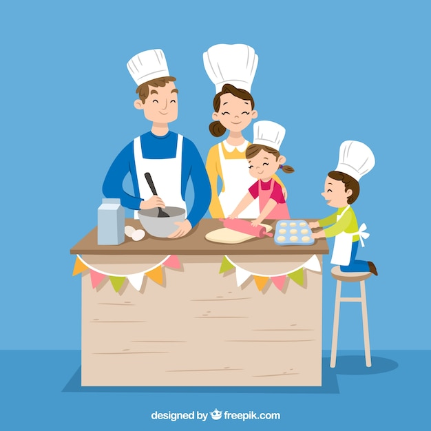 Hand drawn family cooking together Free Vector
