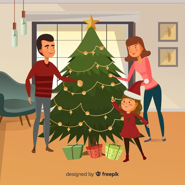 Hand drawn family decorating christmas tree christmas background Free Vector