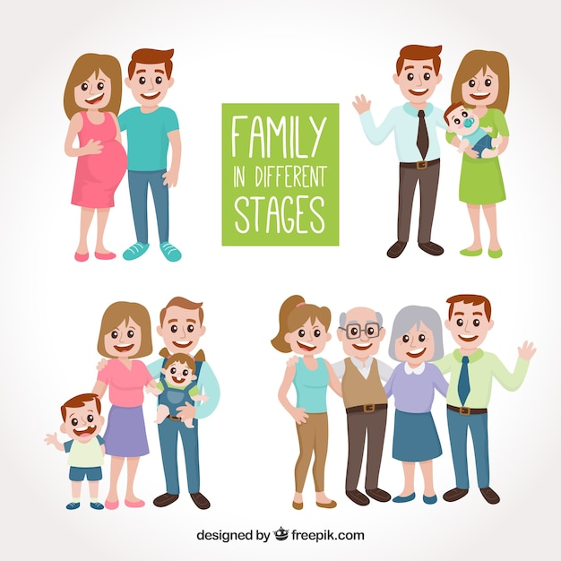 Hand drawn family in different life stages Free Vector
