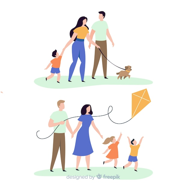 Hand drawn family doing outdoors activities collection Free Vector
