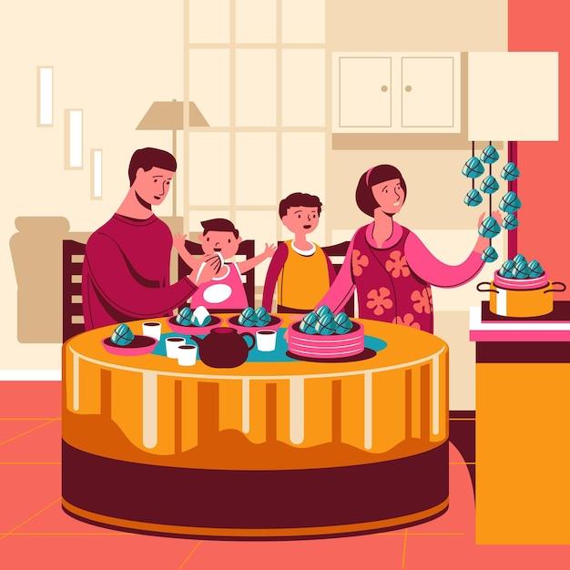 Famiglia disegnata a mano che mangia zongzi Vettore gratuito