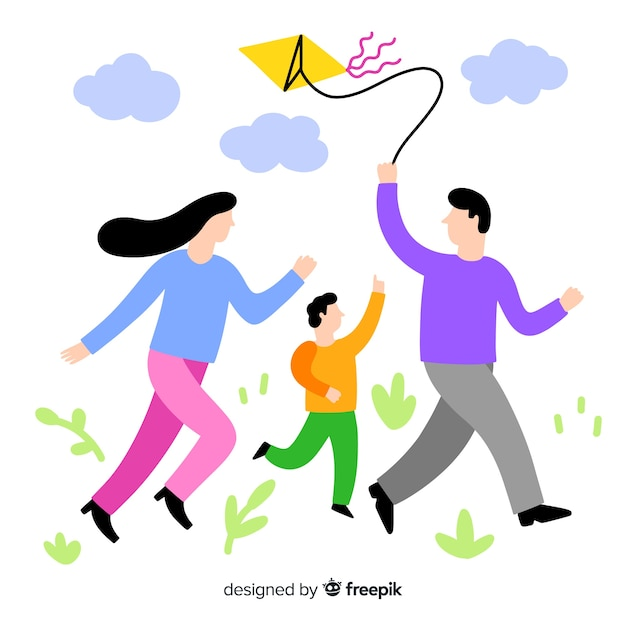Hand drawn family flying a kite illustration Free Vector