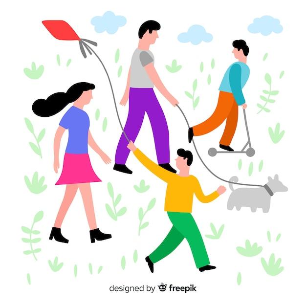 Hand drawn family having a walk illustration Free Vector