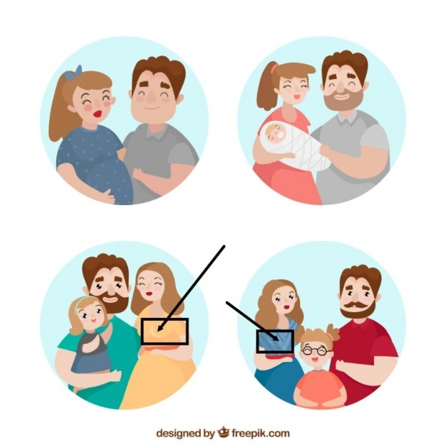 Hand drawn family in different life\ stages