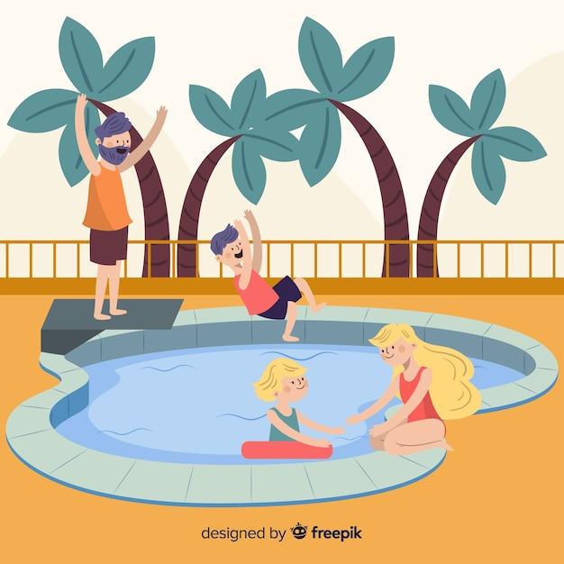プールで手描きの家族 Premiumベクター