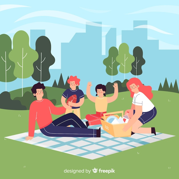 Hand drawn family outdoor activity Free Vector