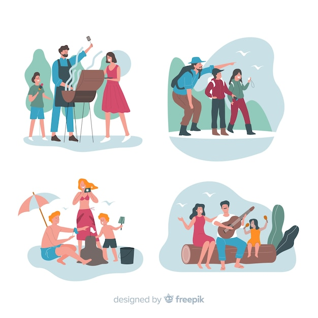 Hand drawn family outdoor scenes pack Free Vector