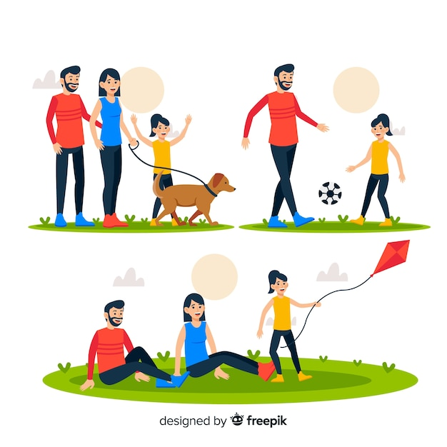 Hand drawn family outdoor situations pack Free Vector