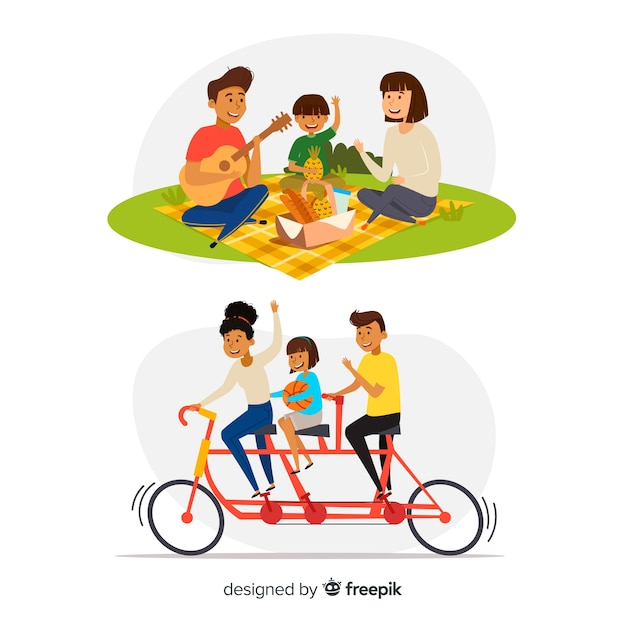 Hand drawn family in the park Free Vector