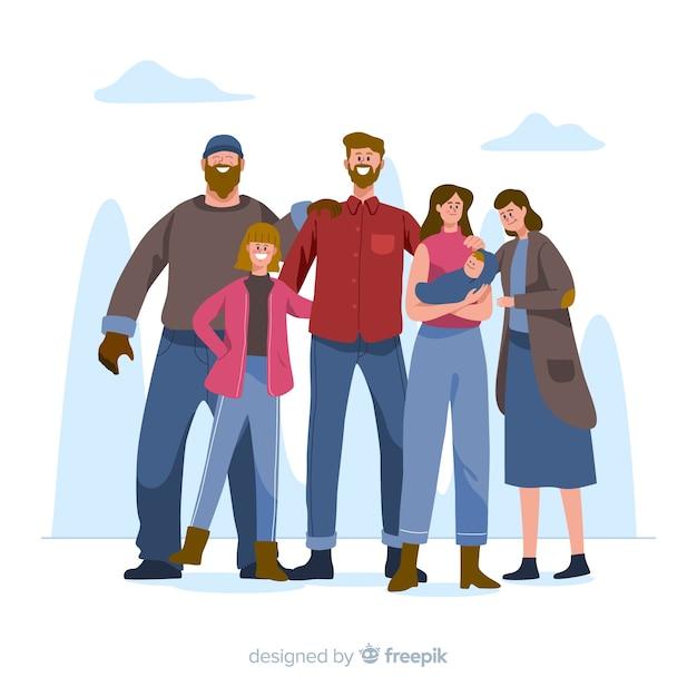 Hand drawn family portrait illustration Free Vector