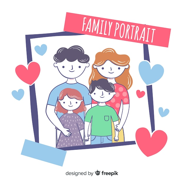 Hand drawn family portrait polaroid Free Vector