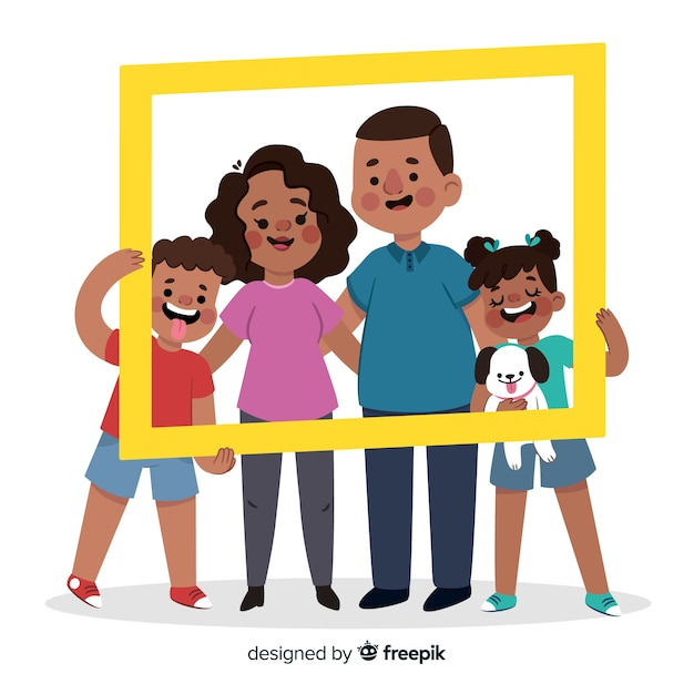Hand drawn family portrait with frame Free Vector