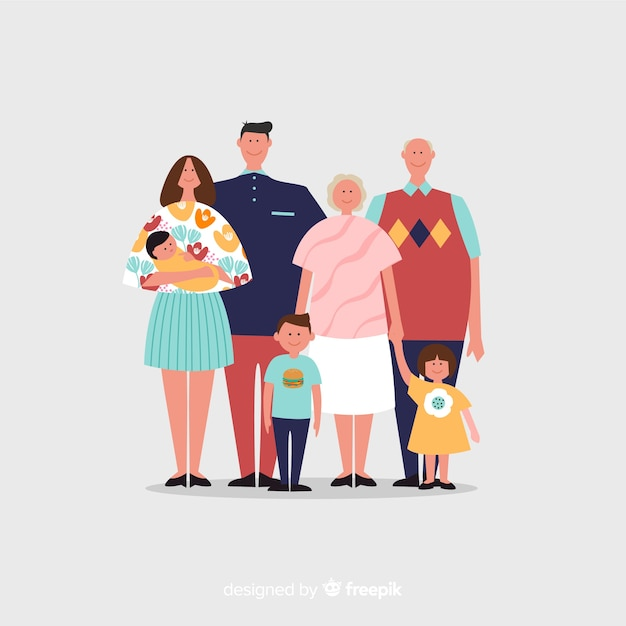 Hand drawn family portrait Free Vector