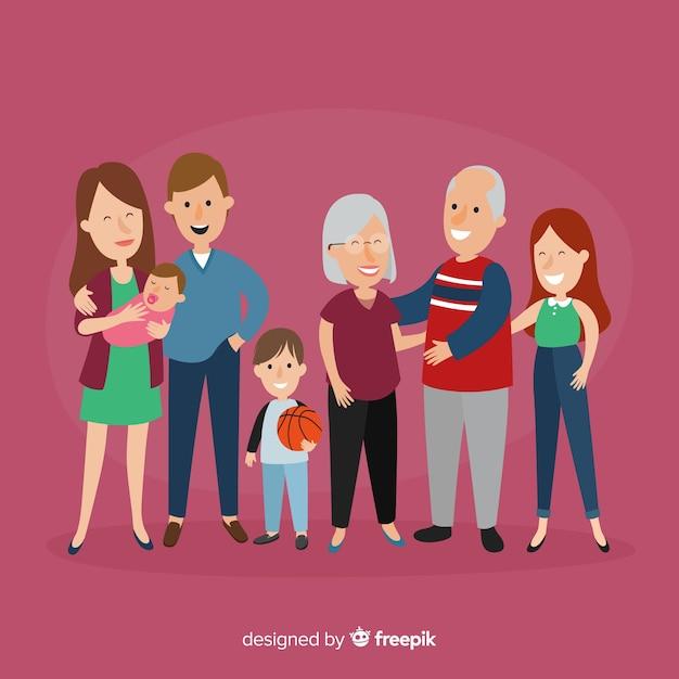 손으로 그린 가족 초상화 무료 벡터