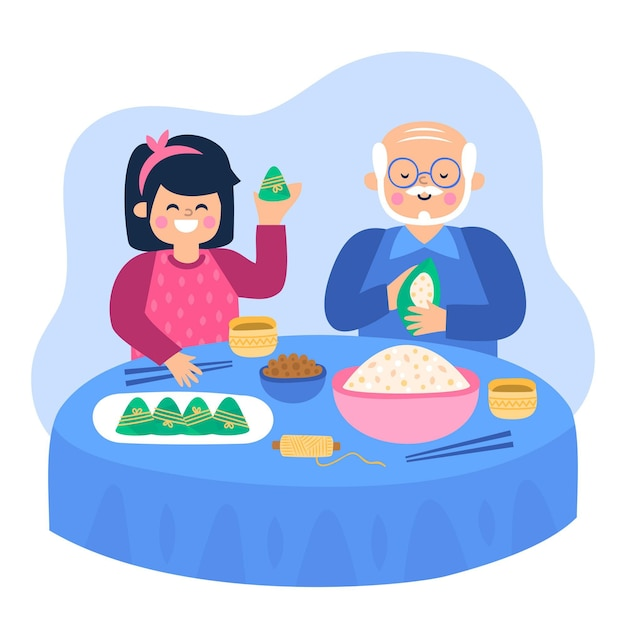 Рисованной семьи готовит и ест цзунцзы Бесплатные векторы