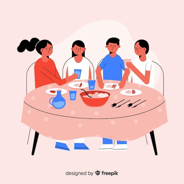 Famiglia disegnata a mano che si siede intorno al fondo della tavola Vettore gratuito
