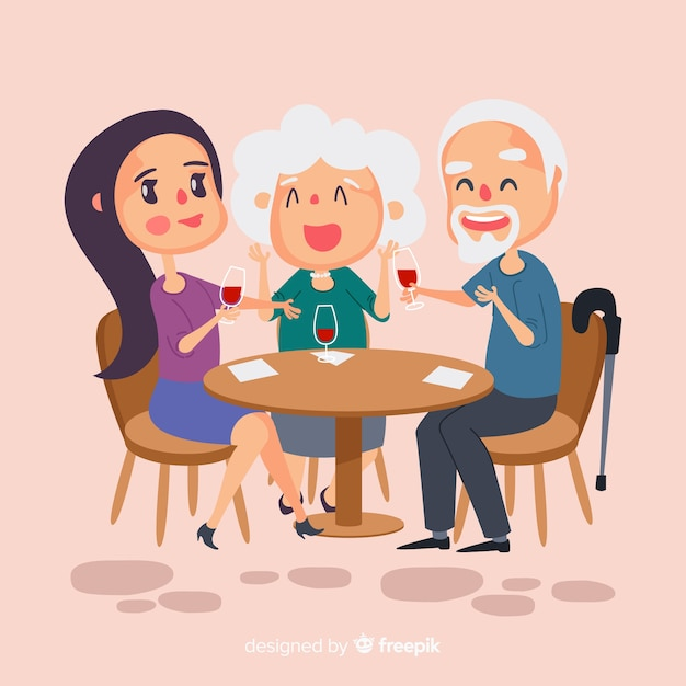 Hand drawn family sitting around table Free Vector