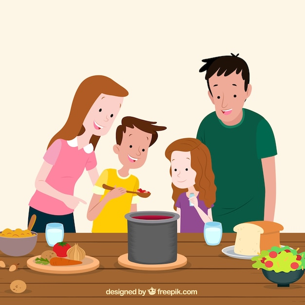 Hand drawn family tasting food Free Vector