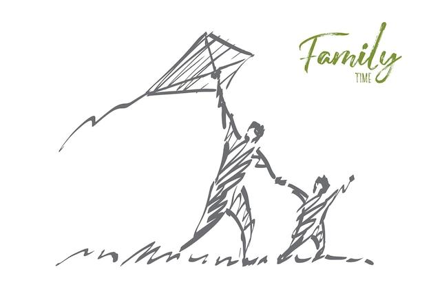 Hand drawn family time concept sketch. Premium Vector