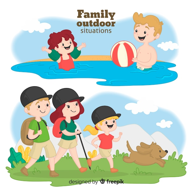 Hand drawn family on a trip Free Vector